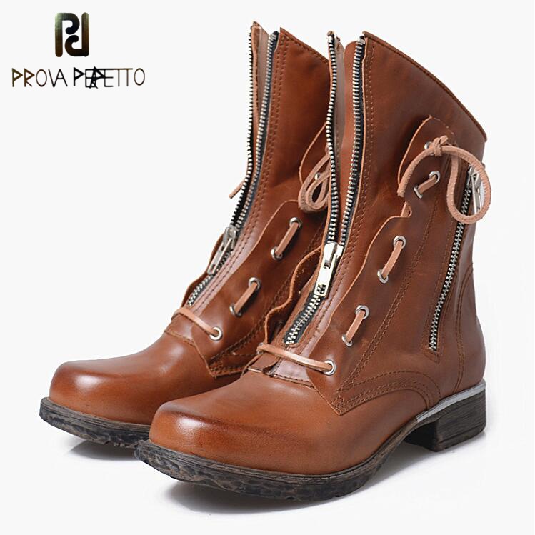 Prova Perfetto Winter Ankle Boots Front Zipper Riding Boot Motorcycle Boots Round Toe Cozy Warm Cow Leather Chelsea Boots Women prova perfetto hot sale real leather round toe women ankle boots front cross tied back zipper high heel dress autumn winter boot