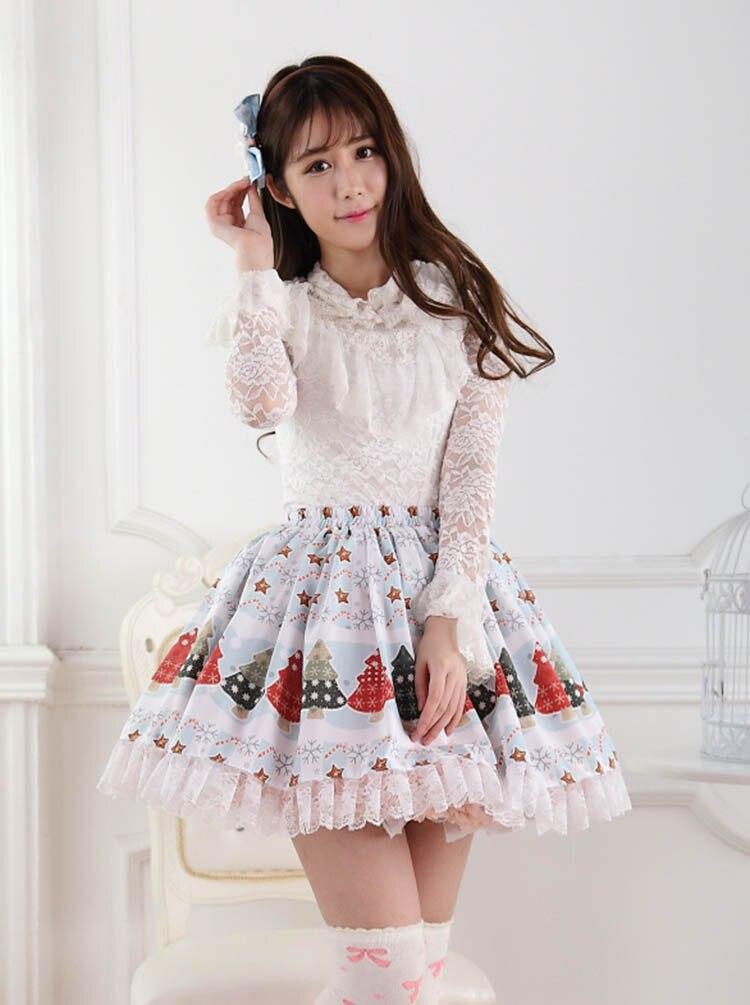 Рождественские женские юбки, зимние, с принтом рождественской елки, супер милые, Лолита, юбка принцессы, для девочек, на год, вечерние, SK, высокое качество