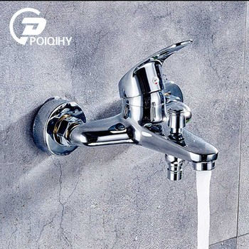 POIQIHY Chrome Polished Brass Dual Spout Washing Machine Cold Water Tap Mop Pool Water Faucet