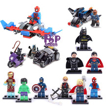 New The Avengers Spider man Batman Building Blocks With Car Classic Minifigures Bricks Toys 13pcs/lot