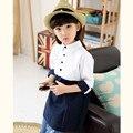 2016 Marca Meninas Primavera Outono Meia Manga Patchwork Blusa Meninas Turn-down Collar Camisas Clássicas Da Escola Do Vintage de Alta Qualidade