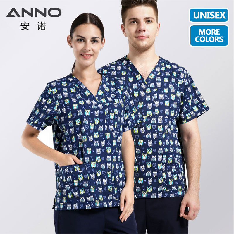 ANNO 5XL Medical Clothes Nurse Uniform With Cartoon Clinical Uniforms Optional Hospital  SdScrubs Set Or Tops T Shirt Or Pant