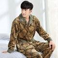 Winter Male Thickening Flannel Lounge Long-sleeve Coral Fleece Sleepwear Plus Size XXXL