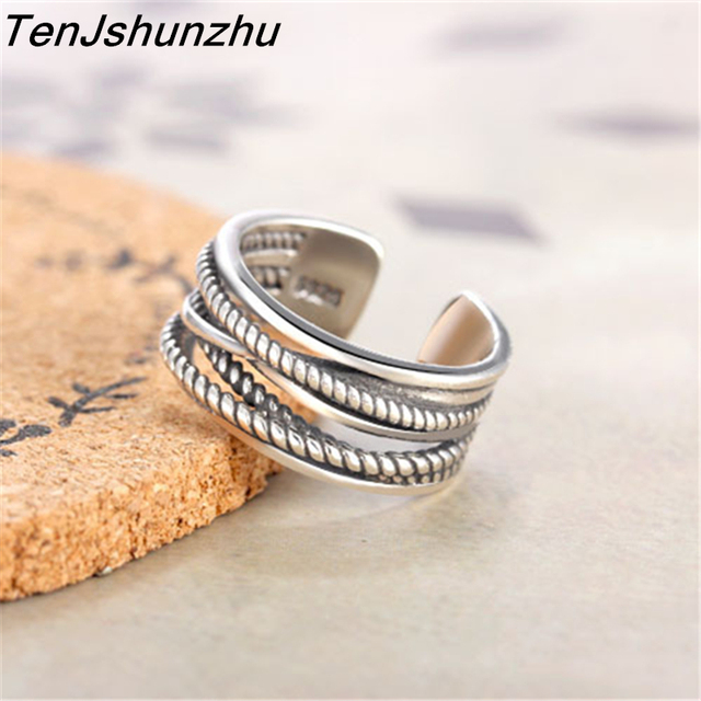 Drop Shipping Hot Sale 925 Sterling Silver Ring Luxury Brand Cross Twisted Wire