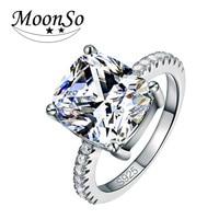 Moonsoクッションカット925スターリングシルバーリング指とaaa cz用女性ジュエリーウェディング婚約卸売LR1953S