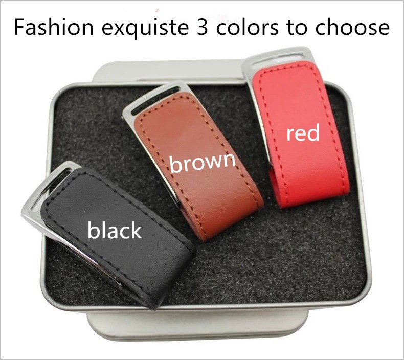 100% Real 8GB 16GB 32GB 64GB 128GB Leather USB Flash Drive With Logo Printing For Promotional Gifts Pendrive Free Shipping