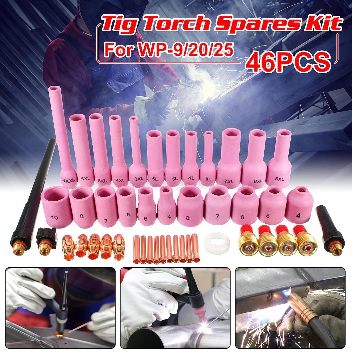 46 stücke TIG Gas Objektiv Collet Assorted Größe Kit Für Wig-schweißbrenner SR WP9 20 25 Wig-schweißen fackeln Werkzeuge Set