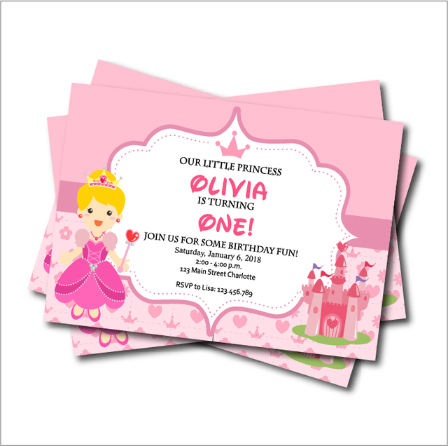 20 pcslot Personalized Princess Birthday Party Invitation Card Baby