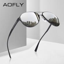 AOFLYยี่ห้อออกแบบPilotแว่นตากันแดดผู้ชายPolarized Drivingแว่นตากันแดดUV400รูปไข่ที่ไม่ซ้ำกันกรอบแว่นตาGafas De Sol AF8115
