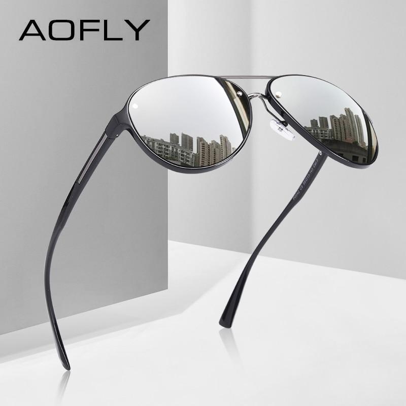 AOFLY ブランドデザインパイロットサングラス男性偏光サングラス UV400 ユニークなオーバルフレーム眼鏡 Gafas デゾル AF8115    グループ上の アパレル アクセサリー からの サングラス の中