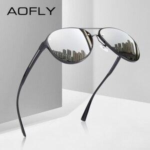 Image 1 - AOFLY di DISEGNO di MARCA Pilot Occhiali Da Sole Polarizzati Uomini di Guida Occhiali Da Sole UV400 Unico Cornice Ovale Occhiali Gafas De Sol AF8115