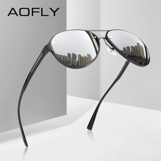 AOFLY di DISEGNO di MARCA Pilot Occhiali Da Sole Polarizzati Uomini di Guida Occhiali Da Sole UV400 Unico Cornice Ovale Occhiali Gafas De Sol AF8115