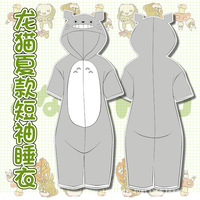 2018 Summer New Totoro shorts Women Pajamas Adult Short Sleeved Warm Couple Pajamas Cartoon Hooded Kawaii Mujer Sleepwear