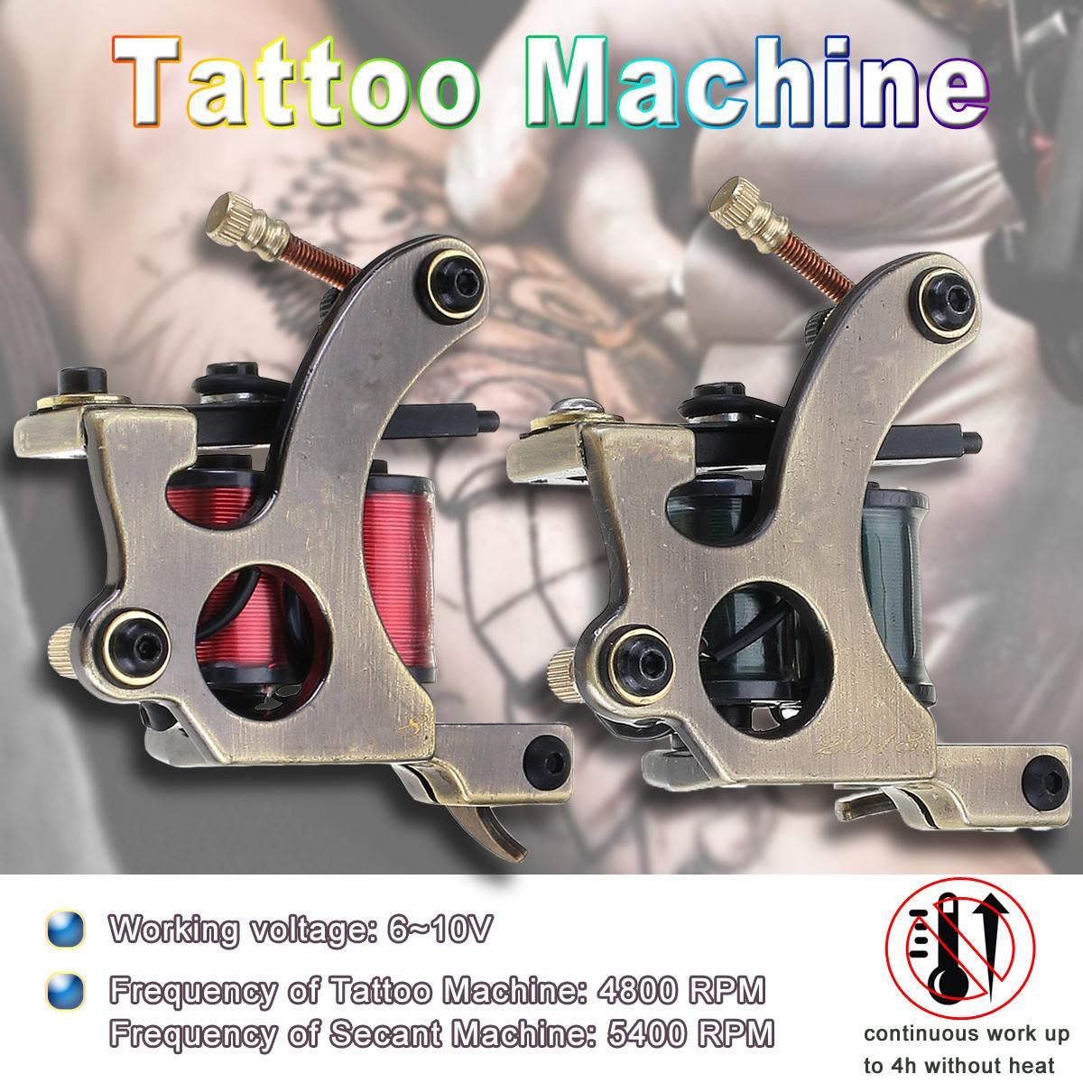 2 in1 Pure Brass Tattoo Machine Secant Machine Set Body Art Accurate Angle Guns