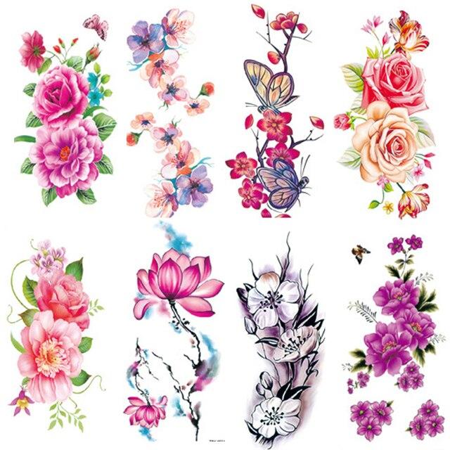 2PCS/lot Flower Decal Tattoo Stickers Fake Tattoos for Woman Girls DIY Arm Legs Body Art Tattoo Design Temporary Tattoo Stickers