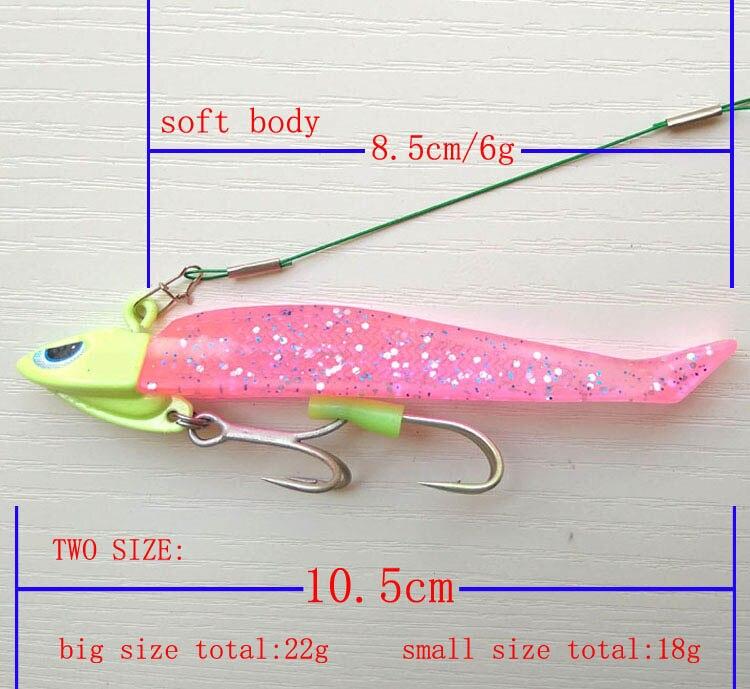 1 pack UV Lure ribbonfish Sea Bass Fishing lure Jig head soft fishing lure Luminiouse head and UV glow body strong fishing hook