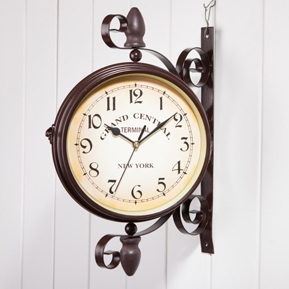 European Antique Style Clock Outdoor Garden Double Sided Wall Clocks with Bracket Iron Glass Vintage Double