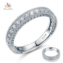 Pavo real Estrella Sólida Plata de ley 925 Anillo de Eternidad Wedding Band Joyería Estilo Vintage Art Deco Diamante Simulado CFR8099