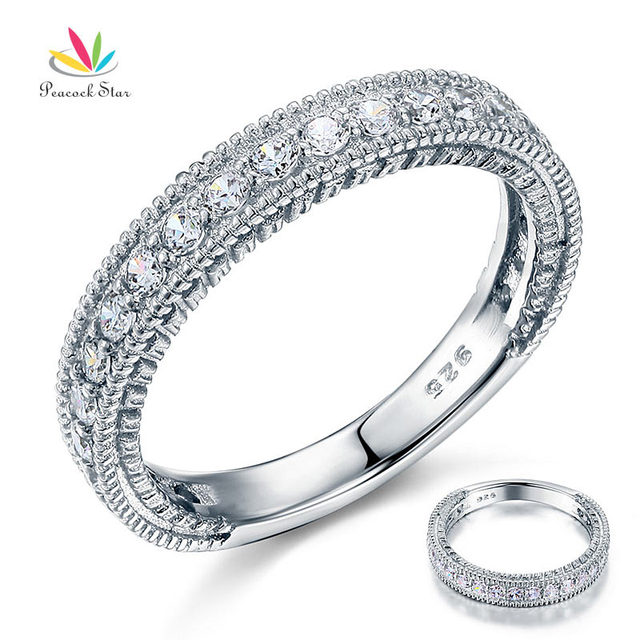 Peacock Star Solid 925 Sterling Silver Wedding Band Eternity Ring Jewelry Vintage Style Art Deco Simulated Diamond CFR8099