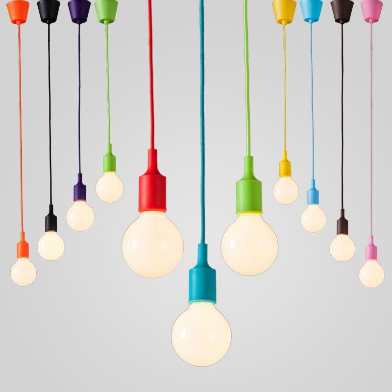 Modern colorful silicone pendant lights brief decoration bar cord E27 Holder DIY Creative Design Pendant