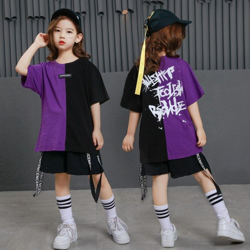 Girls Boys Punk Shirts Purple Hip Hop Clothing For Kids Ballroom Dance Clothing Jazz Children Loose Pants Stage Costume Suits