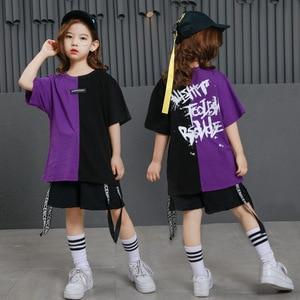 Image 1 - Girls Boys Punk Shirts Purple Hip Hop Clothing for Kids Ballroom Dance Clothing Jazz Children Loose Pants Stage Costume Suits