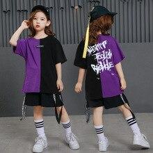 Meisjes Jongens Punk Shirts Paars Hip Hop Kleding Voor Kinderen Ballroom Dans Kleding Jazz Kinderen Losse Broek Toneelkostuum Suits