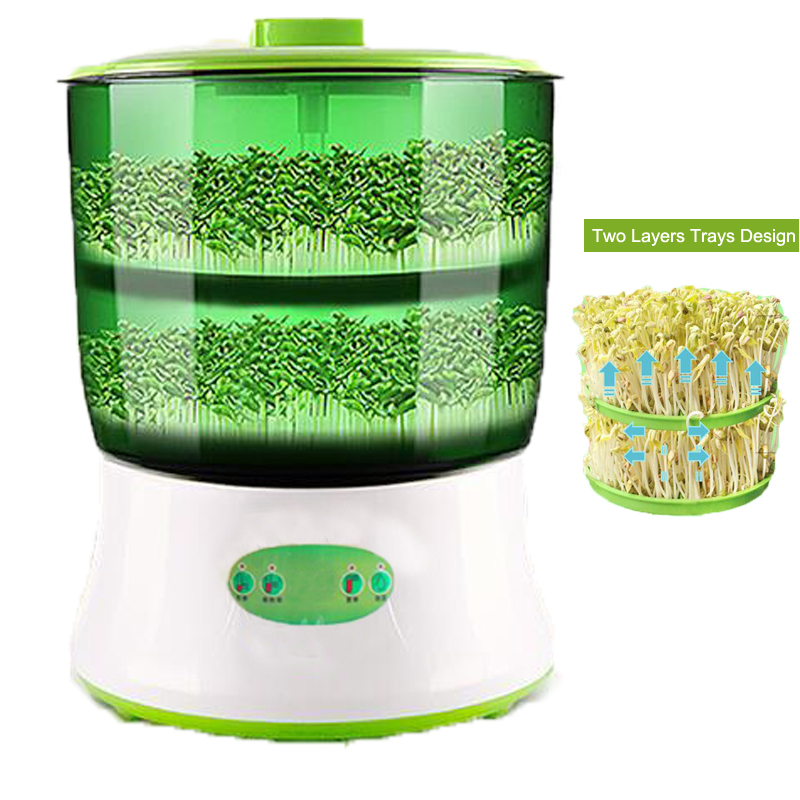 Automatic Bean Sprout Machine Three Layers US Plug Multifunctional Homemade Sprout Bud Machine Intelligent Microcomputer Control yoga sprout комплект
