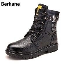 Ботинки на шнуровке в австралийском стиле подбитые шерстью мужская теплая зимняя плюшевая обувь с пряжкой мужская обувь из кожи с натуральным лицевым покрытием модные ковбойские мотоботы в стиле панк