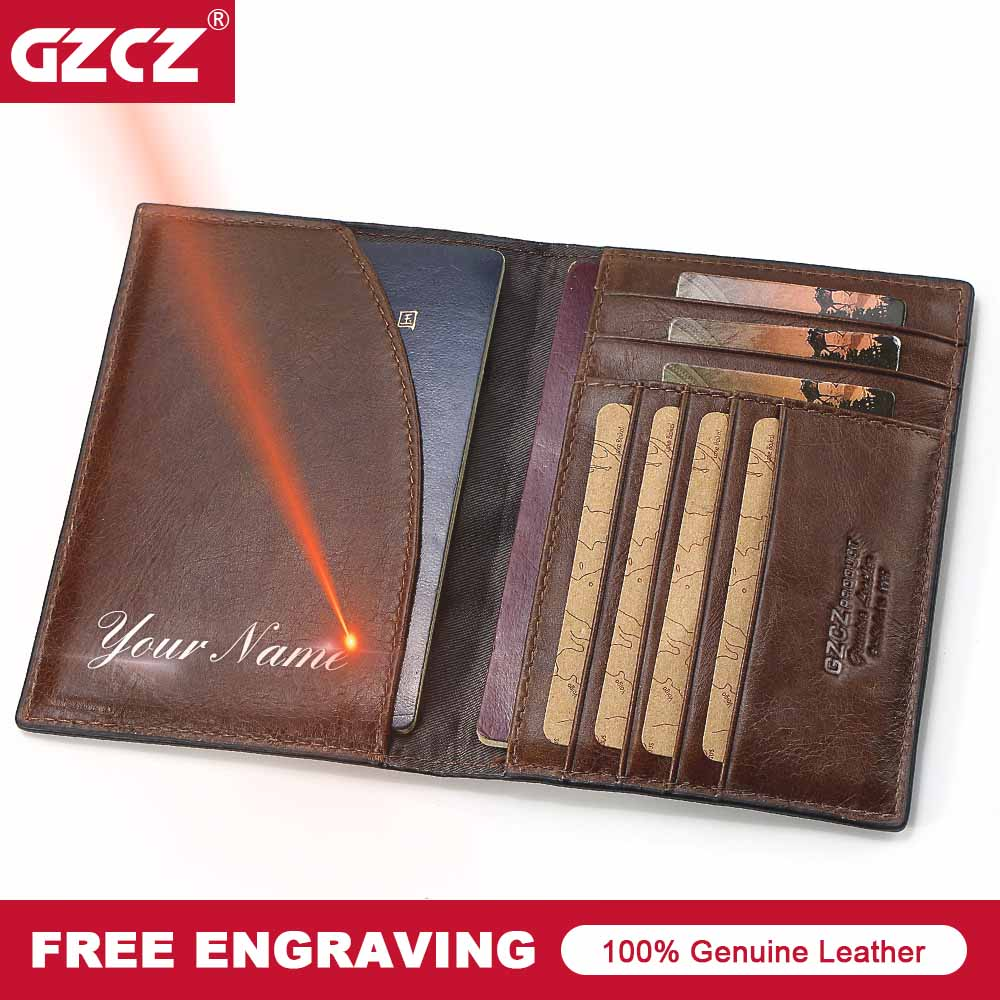 GZCZ Document-Card Passport-Cover Genuine-Leather Pocket High-Quality for Girls Case