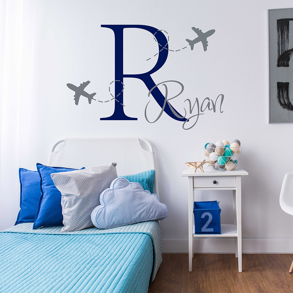 Airplane Wall Decal Airplane Boys Monogram Sticker Personalized Boy Name Monogram Wall Sticker For Children Room 673C