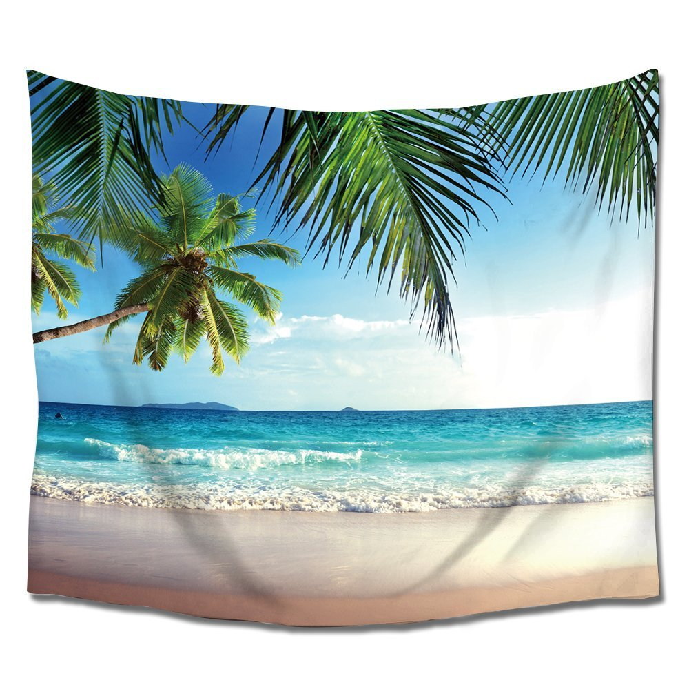 Palms Ocean Tropical Island Beach Wall Art Tapestry Hangings Polyester Fabric for Home Bedroom Living Room Dorms Decor