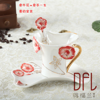 Enamel Porcelain Coffee Cups And Saucers Teaspoons Of Creative Gift Bone China Cups Morning Glory Valentine