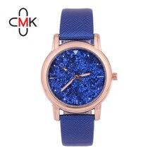 CMK Marca de Relojes Vestido de Las Mujeres Relojes Señoras Reloj de Cuarzo Reloj de Cuero de Moda de Lujo Rhinestone Brillante Horas montre femme