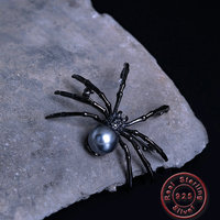 Amxiu Freshwater Pearl Brooch Pendant Black Zircons 925 Sterling Silver Brooches Insect Spider Brooch Pins For Women Accessories
