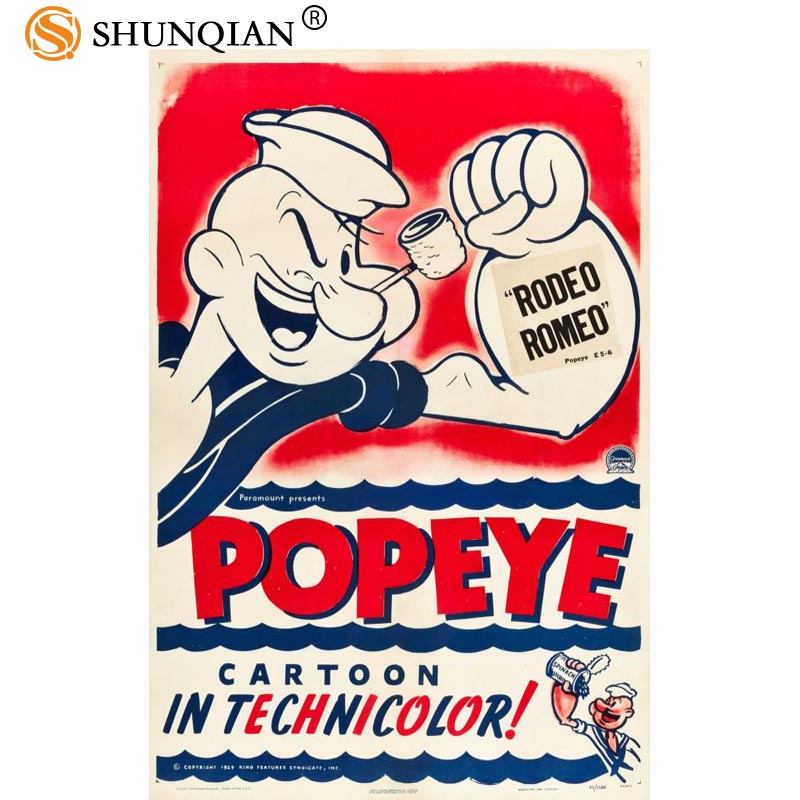 Hot Custom Popeye the Sailor Art Silk Poster Or Canvas Poster Cartoon Picture For Living Room Decor best gift