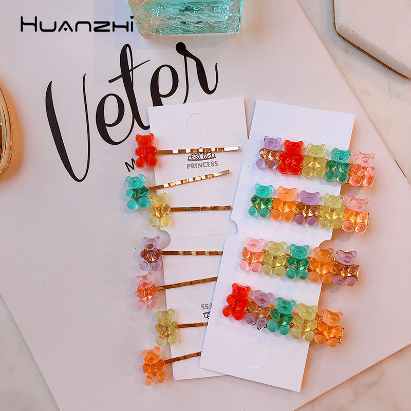 HUANZHI Translucent Acrylic Hairpin Colorful Candy Bear Hairgrip Summer Hair Clip Barrette Hair Accessories For Women Children