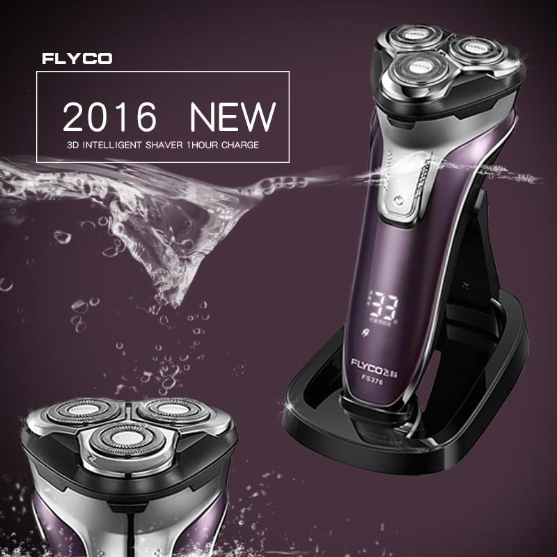 Flyco 3D galleggiante testa corpo lavabile Rasoio Elettrico Ricaricabile Portatile Ha Condotto La Luce di Carica Veloce Lama Tripla barbeador FS376