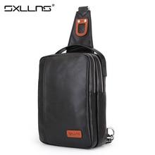 Sxllns Men Messenger Bag Genuine Leather Crossbody Beach Bag Men's Shoulder Bag Travel Casual Riding Multifunctional Chest Pack