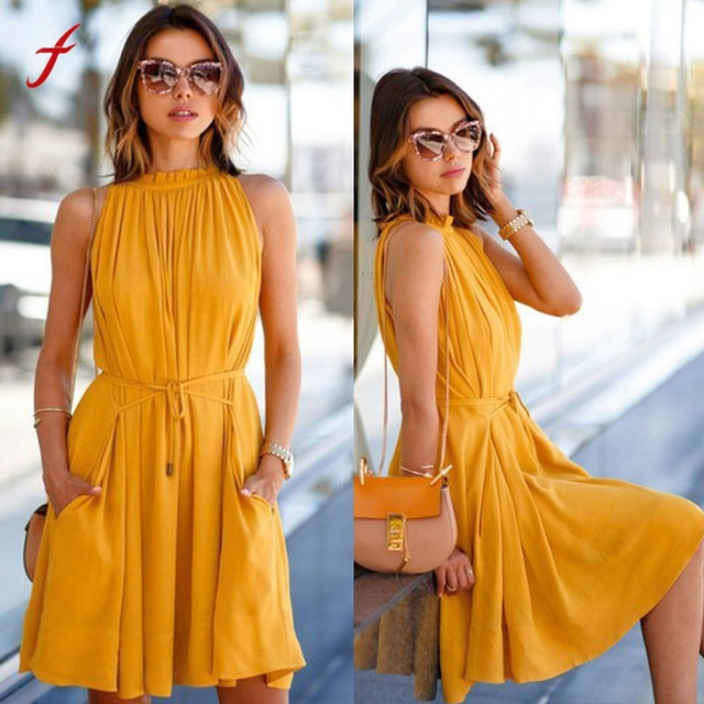 6f275f4756156 US $9.18 18% OFF|Women Clothing Summer Solid Tassels Waistband Dresses  Casual Women's Sleeveless Beach Party Casual Dress Frilly Vestidos-in  Dresses ...