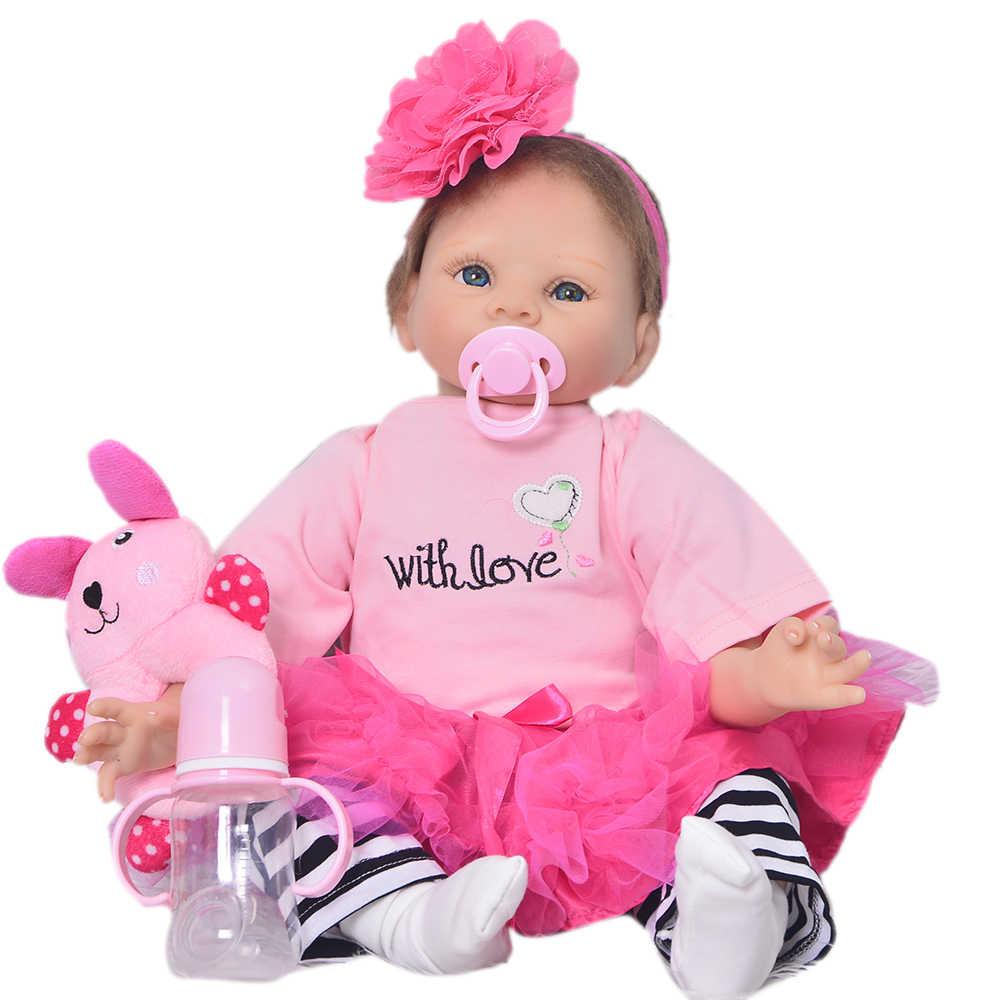 Lifesize 55 centímetros Bebê Reborn Menina Silicone Macio Boneca Recém-nascidos Para A Menina 22 ''adorável Renascer Baby Doll Corpo De Pano presentes do Aniversário dos miúdos