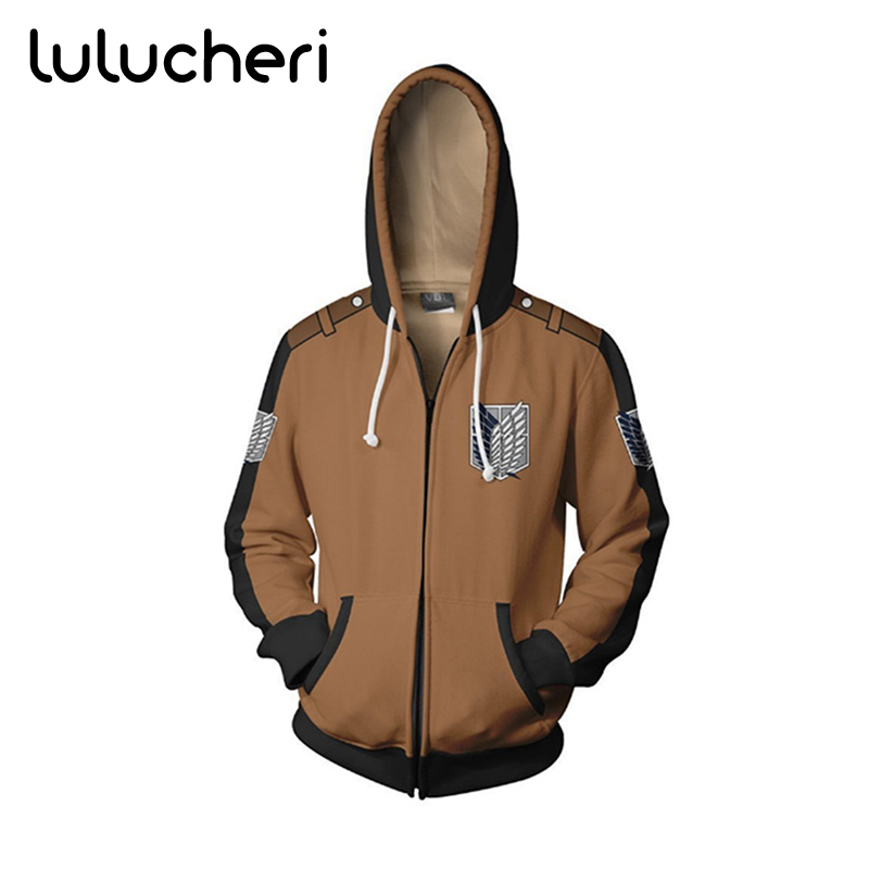 Anime Attack on Titan Cosplay Costumes Men Long Sleeves Hoodie Zipper Sweatshirts Winter Sweater Halloween Hooded Jacket Coat