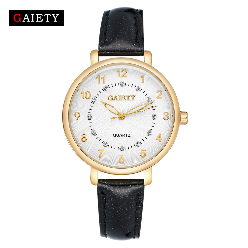 GAIETY New Watch Women Stainless Steel Case Leather Band Casual Fashion Female Gold Watches Luxury Brand Quartz G146 gaiety new watch women stainless steel case leather band casual fashion female gold watches luxury brand quartz g146