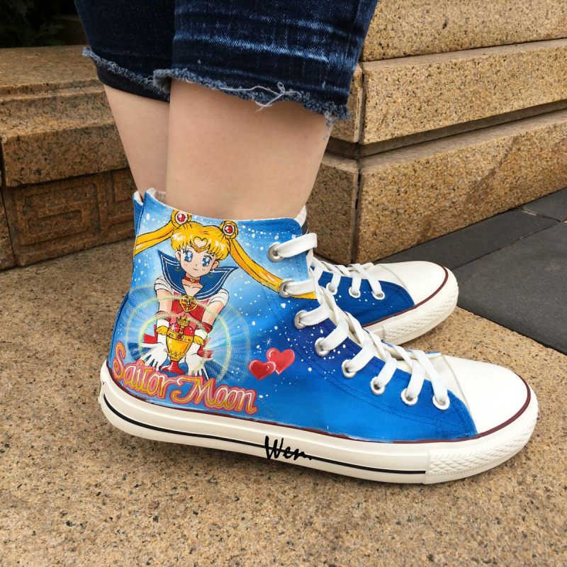 Wen Blue Anime Hand Painted Shoes Sailor Moon Men Womens Sneakers Design Custom High Top Canvas Sneakers For Boys Girls