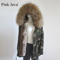 New Arrival Faux Fur Lined Parka With Real Raccoon Collar Big Size
