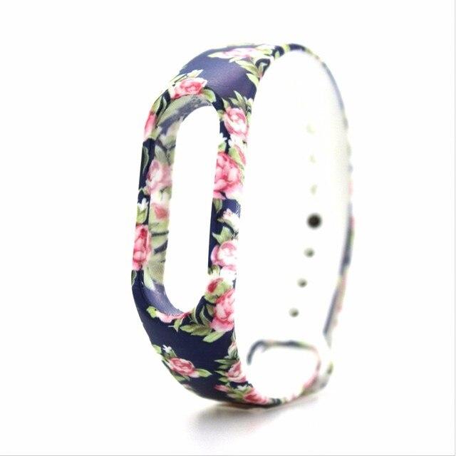 BUMVOR Colorful Silicone banda Alça de Pulso Pulseira Padrão Colorido Substituição pulseira para mi 2 xiao Mi mi band2 pulseiras