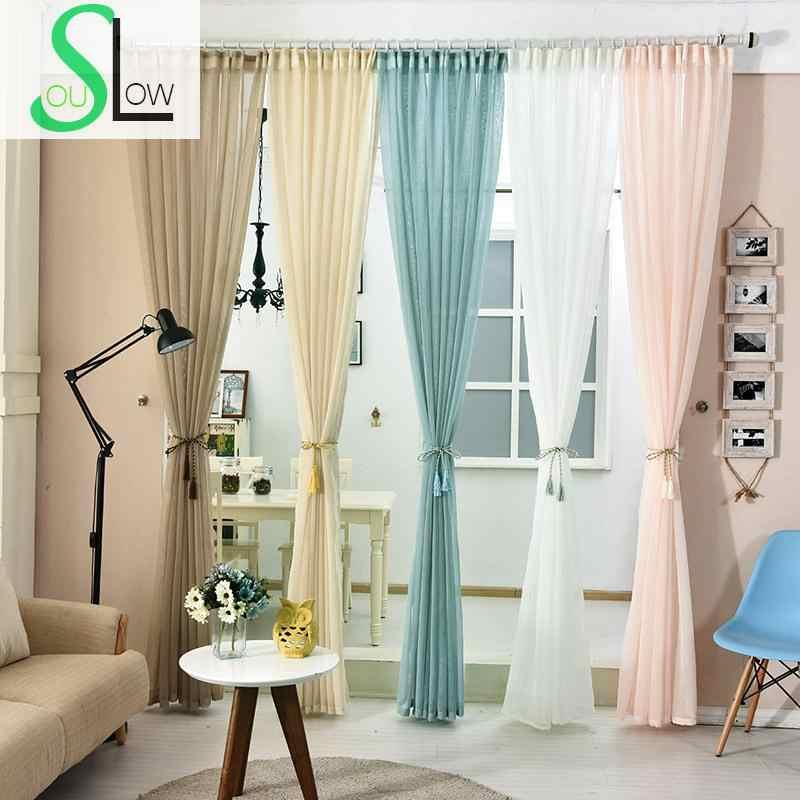 Slow Soul белая кровяная бежевая светло-синяя кофейная цветная занавеска сплошная для гостиной шторы из тюля спальни кухни прозрачные ножницы