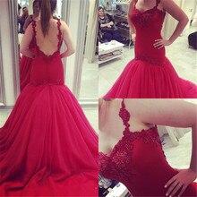 Designer Red Friesen Meerjungfrau Ballkleider Prom Kleider 2016 Sexy Backless Spaghetti Riemen Gericht Zug Abend Party Kleider Für Mädchen