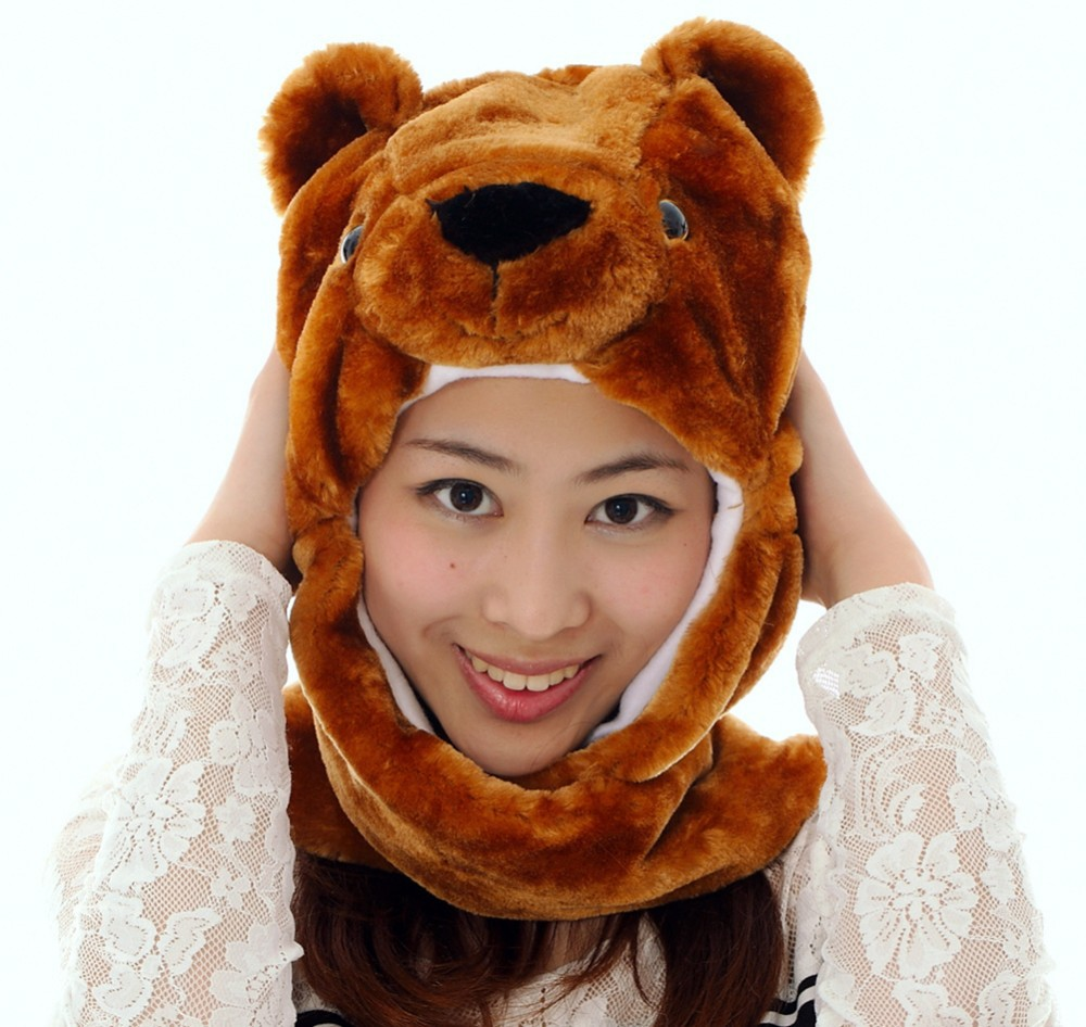 Douchow, взрослые, женские, мужские, подростковые, дети, мальчики, девочки, Мультяшные животные, шапки, милый коричневый медведь, плюшевая зимняя теплая шапка с рукавицы-лапы