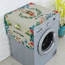 Cartoon Printed Roller Washing Machine Refrigerator Dust Cover with Storage Pocket Dustproof Cotton Linen Cloth Craft AQ162